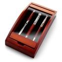 Zestaw piśmienny w drewnianym pudełku, długopis przekręcany, pióro wieczne i nóż do otwierania listów