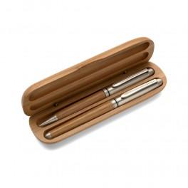 Zestaw piśmienny w pudełku, długopis i pióro kulkowe z metalowymi elementami