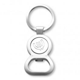 Brelok do kluczy, otwieracz do butelek z miejscem na monetę/żeton na magnes, w pudełku